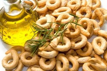Close up shot of Italian taralli, traditional bakery product isolated on white