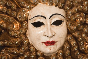 Photo of a typical carnival mask in Venice