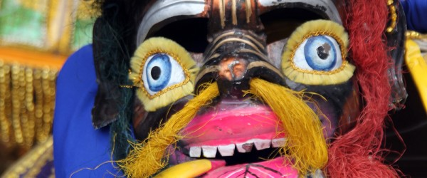 Mask of bolivian traditional carnival in Potosi, Bolivia
