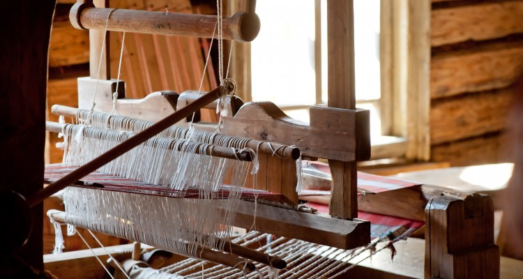 Russian loom in a village house