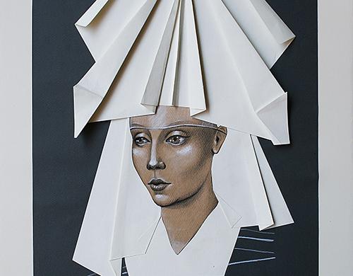 Vania Eleettra Tam - Origami Clitoridei -  falena - 2016 - 70x50 cm - tecnica mista su carta incollata su tela